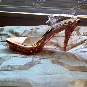 Clear fancy heel platform sandal